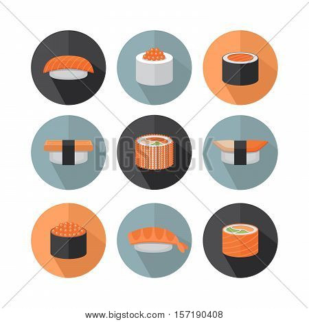 Sushi and roll flat style icon. Flat style. Vector Illustration.