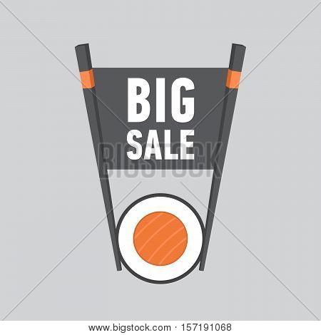 Big Sale label for sushi bar. Flat style. Vector Illustration.
