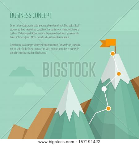 Trekking and hiking concept. Flat style. Vector Illustration.