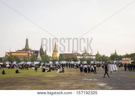 BANGKOK THAILAND - OCT 19 : A crowd of mourners at south zone of Sanam Luang while the body of Thailand Bhumibol Adulyadej keep in Grand Palace on october 19 2016