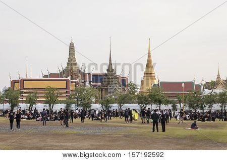 BANGKOK THAILAND - OCT 19 : A crowd of mourners at Sanam Luang while the body of Thailand Bhumibol Adulyadej keep in Grand Palace on october 19 2016