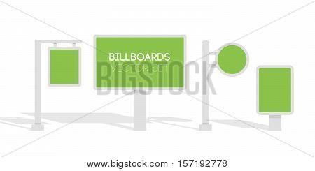 Billboards, advertise billboards, city light billboard. Flat 3d vector illustration for infographic.