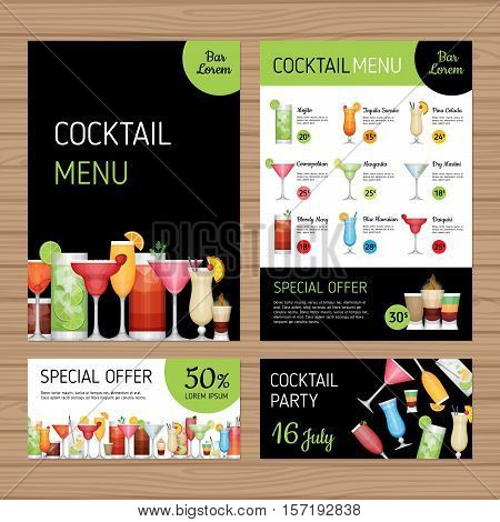 Cocktail Menu Design. Alcohol Drinks. A4 Size And Flyer Layout Template. Bar Menu Brochure With Mode