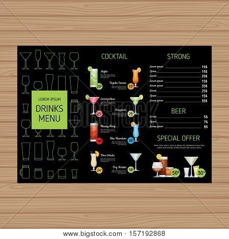 Cocktail Menu Design. Alcohol Drinks Tri-fold Leaflet Layout Template. Bar Menu Brochure With Modern