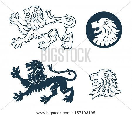 Black and White Heraldic Lion illustration, lion head