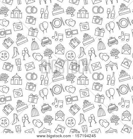 Wedding Background. Seamless Pattern Of Wedding Object. Cartoon Wedding Symbols. Outline Icons, Blac