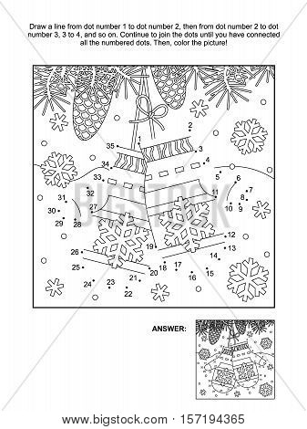 Winter, New Year or Christmas themed connect the dots picture puzzle and coloring page with Santa's mittens. Answer included.