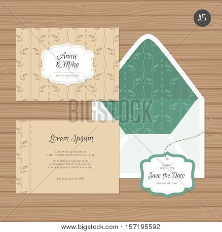 Template Wedding Invitation And Envelope With Floral Ornament. Greeting Card And Envelope Mock Up. V