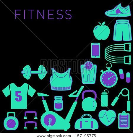 Sports Background with Fitness Icons for Print or Web