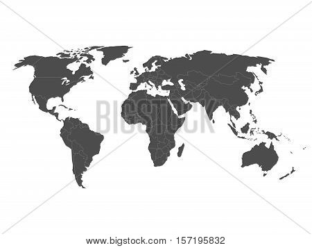 Blank vector world map with sovereign countries and larger dependent territories. Every state is a group of objects in dark grey color with white borders. South Sudan included.