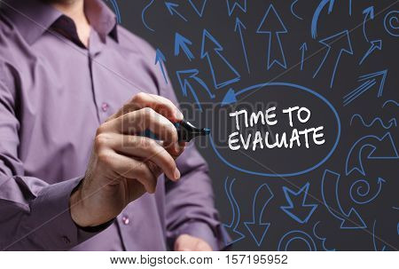 Technology, Internet, Business And Marketing. Young Business Man Writing Word: Time To Evaluate