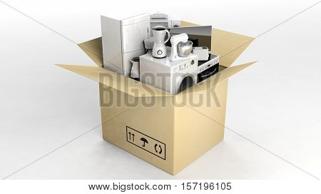 3d rendering set of home appliances in a moving box
