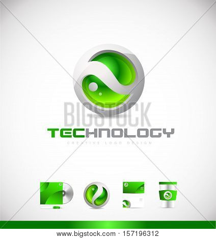 Green sphere technology 3d vector logo icon sign design template corporate identity