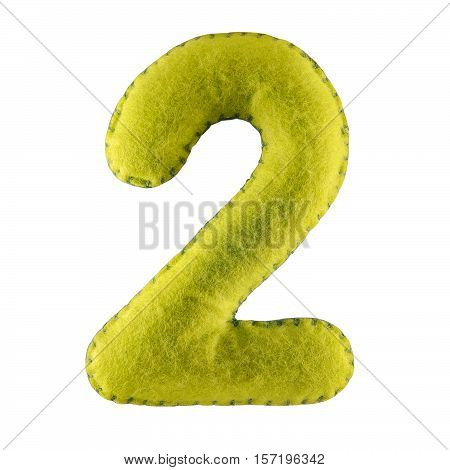 Number 2. Hand made number Two from green felt. Set of numbers from colorful felt isolated on white background