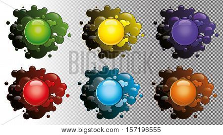 Colored blots isolated on a transparent background. Set Of Color Blots, With Gradient, Vector Illustration. Colored bubbles. Colored shiny balls in cartoon style. Set of colored glossy balls.