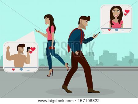 The guy and the girl walking on the street towards each other and browsing social networks, gives to each other likes, but do not see each other in real life.Vector illustration