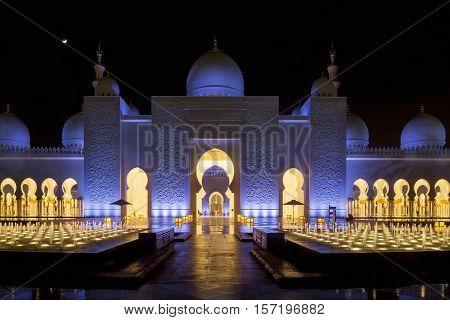 Sheikh Zayed Grand Mosque in Abu Dhabi United Arab Emirates. Grand Mosque in Abu Dhabi is the largest mosque in United Arab Emirates for more than 40000 prayers. Sheikh Zayed