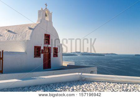 Greece Santorini a small Orthodox church of Imerovigli village