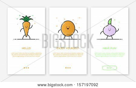 Vector Illustration of onboarding app screens and outline web vegetables icons for mobile apps . Modern red interface UX, UI GUI screen template for mobile smart phone or responsive web site.