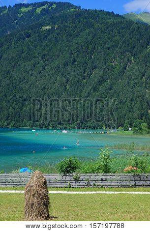 Summertime at Lake Weissensee in carinthian Lake District,Carinthia,Austria