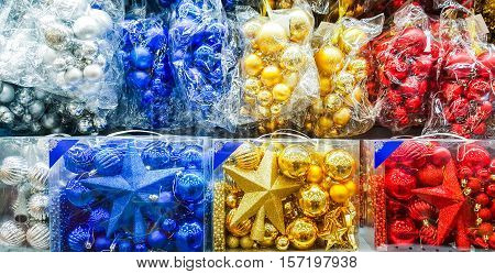 Colored Christmas toys in store. Christmas decorations