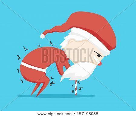 santa claus character walking stick and icon cartoon ,vector illustration
