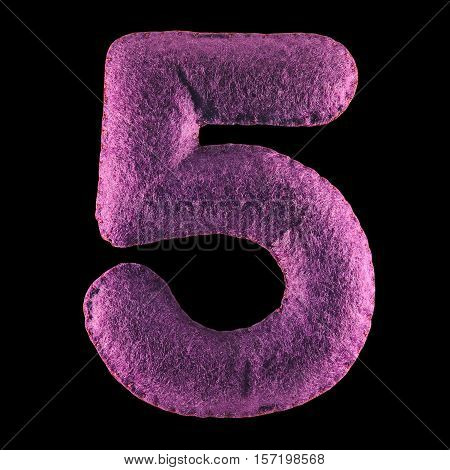 Number 5. Hand made number Five from purple felt. Set of numbers from colorful felt isolated on black background