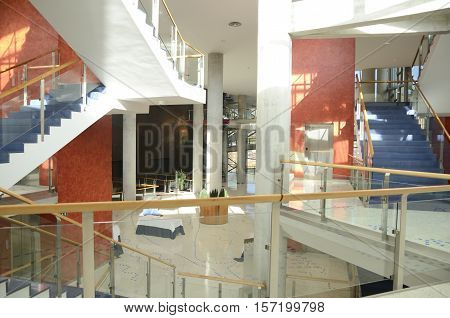 BILBAO, SPAIN - NOVEMBER 17, 2016: Inner of the Euskalduna Conference Centre in Bilbao Spain