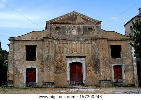 Old Roscigno,abandoned town and old architecture.Cilento.Salerno.Campania.Sud Italy. poster