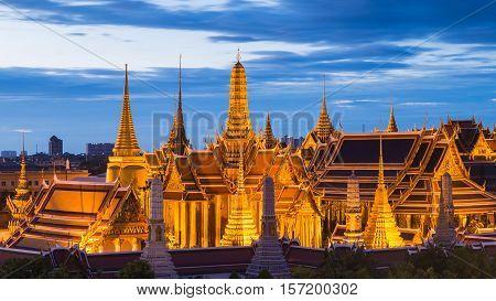 Thailand Grand Palace close up, Bangkok Landmark night view