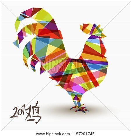 Chinese New Year Of Rooster Abstract Color Design