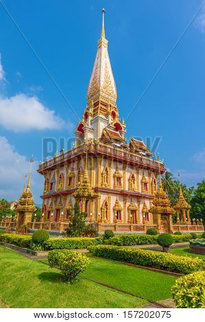 Wat Chalong Temple on sunny summer day at Phuket island, Thailand. It's the biggest and oldest buddhist temple on Phuket. The date of construction is unknown.