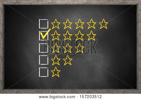 golden rating four stars black chalkboard 3D Illustration