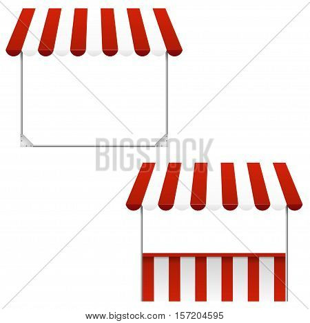 Set of striped awnings isolated on white background