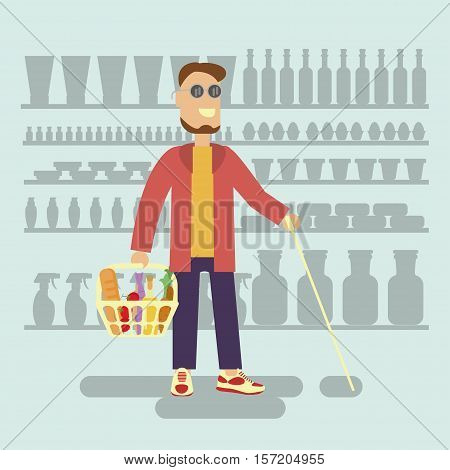 Blind person with walking stick is a Customer with shopping basket in supermarket. Isolated Vector illustration of Disabled man