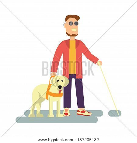 Blind person with guide dog and walking stick . Isolated on white background. Vector illustration of Disabled man