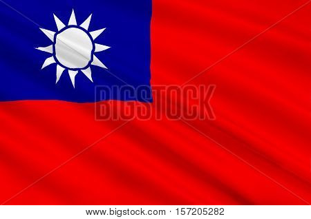 Flag of Taiwan officially the Republic of China is a state in East Asia. 3d illustration