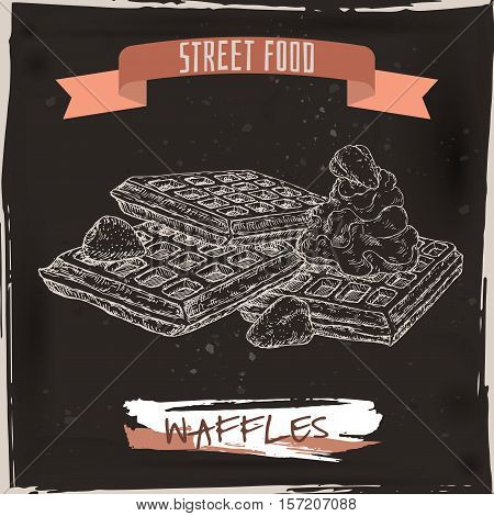 Belgian waffles with whipped cream and strawberries sketch on grunge black background. Belgian cuisine. Street food series. Great for recipe books, markets, restaurants, cafe, food label design.