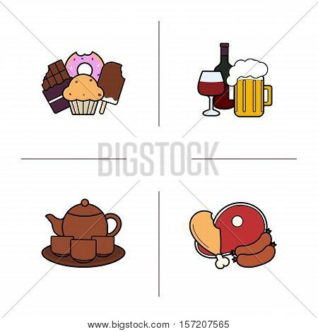 Food categories color icons set. Confectionery, alcohol drinks, tea set, meat products. Isolated vector illustrations