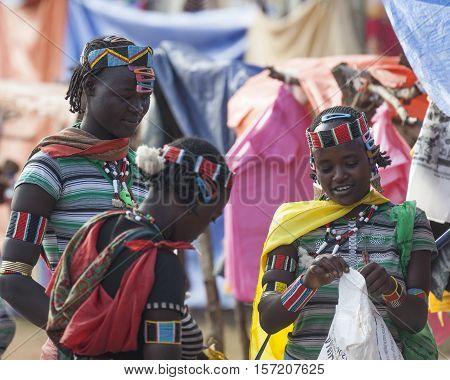 Banna People At Village Market. Key Afar, Omo Valley. Ethiopia