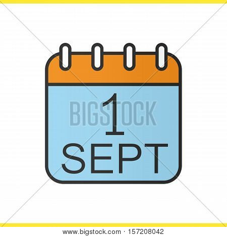 September 1st calendar color icon. Back to school. Isolated vector illustration