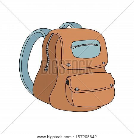 School backpack color icon. Student rucksack. Schoolbag. Isolated vector illustration