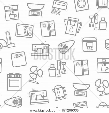 Appliances, background, seamless, white. Vector grey outline icons appliances for home and kitchen on a white background.