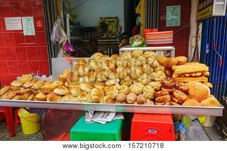 Pastries At Street Market In Vietnam