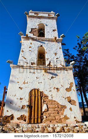 Bell tower and church in the village Toconao close to San Pedro de Atacama in the Atacama desert in Chile South America