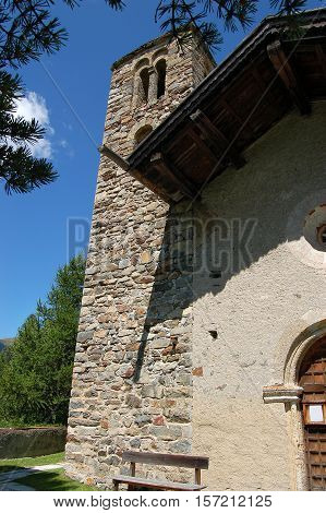 Detail of the ancient medieval church of San Gian (Saint John) in Celerina or Schlarigna small village in Engadine Switzerland Europe