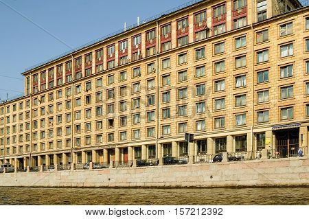 Saint-Petersburg, Russia - May 13, 2006: Hostel of St. Petersburg state architectural and construction university. Building is built in 1960