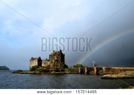 Great view of Eilean Donan Castle with a fantastic rainbow.