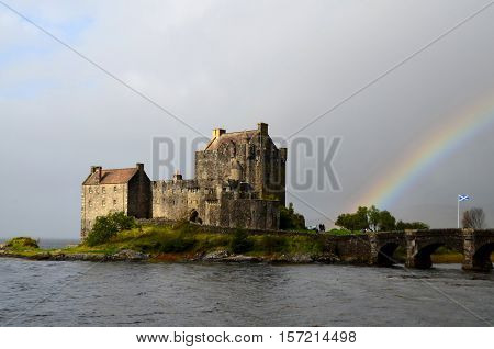 Eilean Donan Castle with a beautiful rainbow.