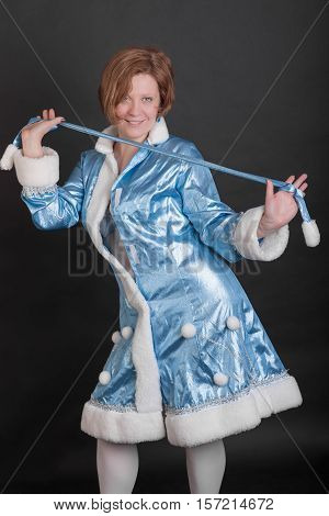 portrait of playful girl in suit Snow Maiden